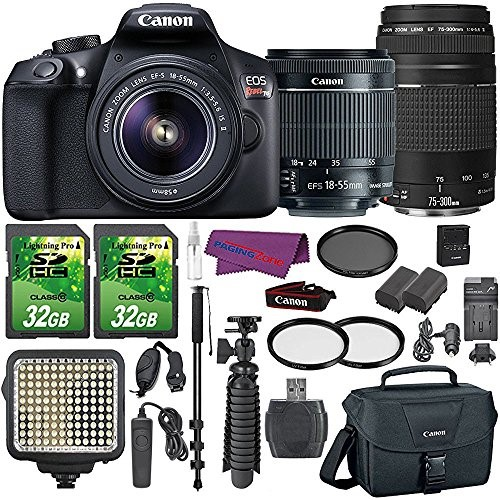 Canon EOS Rebel T6 Digital SLR Camera with EF-S 18-55mm IS II Lens + EF 75-300mm III Telephoto Zoom Lens and Accessory Bundle (15 Items)
