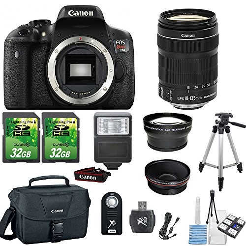 Canon EOS Rebel T6i 24.2MP Digital SLR DSLR Camera+ Canon 18-135mm IS STM Lens+2pc 32GB Memory Cards +Flash+ Canon Case + Telephoto and Macro Aux Lens