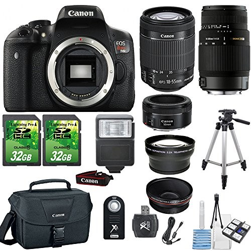 Canon EOS Rebel T6i 24.2MP Digital SLR DSLR Camera+ Canon 18-55mm IS STM Lens+ Canon 50mm 1.8 STM Lens+Sigma 70-300mm Lens+ 2pc 32GB Memory Cards +Flash+ Canon Case + Telephoto and Macro Aux Lens