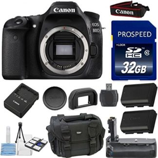 Canon EOS 80D Digital SLR Camera Body Kit 33rd Street Bundle with Extra Battery + Deluxe Power Grip + Deluxe Camera Case + 32GB Memory Card + 10pc Accessory Bundle