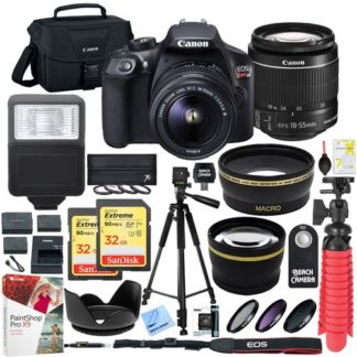 Canon T6 EOS Rebel DSLR Camera EF-S 18-55mm f/3.5-5.6 IS II Lens 32GB Memory x2 Bundle