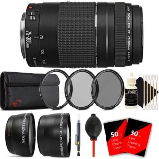 Canon EF 75-300mm f/4-5.6 III USM Telephoto Zoom Lens for Canon EOS Rebel T4i T3 T3i T2i with Accessories