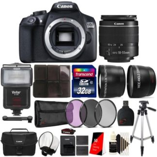 Canon EOS Rebel 1300D 18MP DSLR Camera with 18-55mm Lens + Canon Case and Top Accessory Bundle