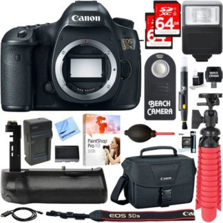 Canon EOS 5DS 50.6MP Digital SLR Camera Body + Battery Grip & Accessory Bundle