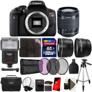 Canon EOS Rebel T6i 24.2MP DSLR Camera with 18-55mm Lens, Canon Camera Case and Ultimate Accessory bundle