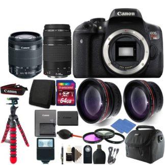 Canon EOS Rebel T6i / 750D Digital SLR Camera + 4 Lens Complete Accessory Bundle