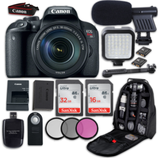 Canon EOS Rebel T7i DSLR Camera with Canon EF-S 18-135mm f/3.5-5.6 IS STM Lens + LED Light + Microphone + Video Accessory Bundle