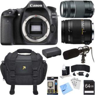Canon EOS 80D 24.2 MP CMOS Digital SLR Camera Bundle w/ 18-250mm + 50mm Lenses