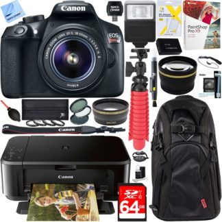 Canon EOS Rebel T6 DSLR Camera with 18-55mm IS II Lens + Canon PIXMA Printer Bundle