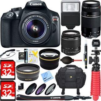 Canon EOS Rebel T6 Digital SLR Camera w/ EF-S 18-55mm IS + EF 75-300mm Lens Bundle