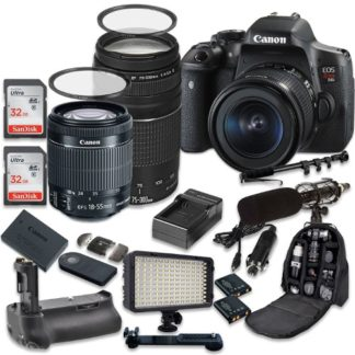 Canon EOS Rebel T6i 24.2 MP Digital SLR Camera with Canon EF-S 18-55mm f/3.5-5.6 IS STM Lens + Canon EF 75-300mm f/4-5.6 III Lens + 2pc SanDisk 32GB Memory Cards + Battery Grip
