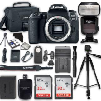 Canon EOS 77D 24.2 MP Digital SLR Camera with Wi-Fi & Bluetooth (Body) + 2pcs 32GB Class 10 SD Memory Card + Accessory Bundle
