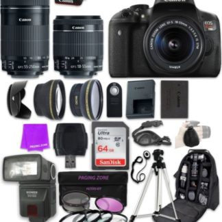 Canon EOS Rebel T6i 24.2 MP Digital SLR Camera with EF-S 18-55mm f/3.5-5.6 IS STM Zoom Lens & Canon EF-S 55-250mm f/4-5.6 IS STM Lens and Professional Complete Accessory Bundle (23 Items)