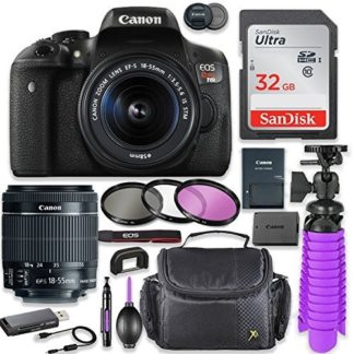 Canon EOS Rebel T6i 24.2MP DSLR Camera with Canon 18-55mm STM Lens Bundle + 32GB SD Memory + High Definition Coated Filters + Spider Tripod + Professional Bundle