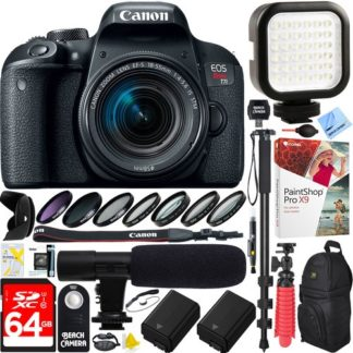 Canon EOS Rebel T7i DSLR Camera +18-55mm Lens 64GB Dual Battery & Mic Pro Video Bundle