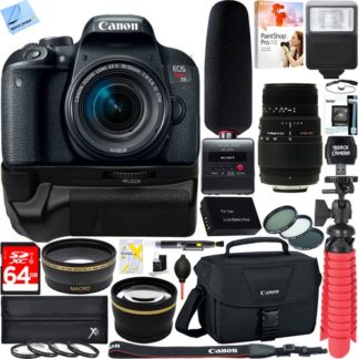 Canon EOS Rebel T7i DSLR Camera +18-55mm & 70-300mm 2 Lens Tascam Video Creator Bundle