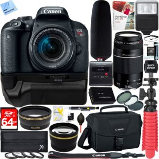 Canon EOS Rebel T7i DSLR Camera +18-55mm & 75-300mm 2 Lens Tascam Video Creator Bundle