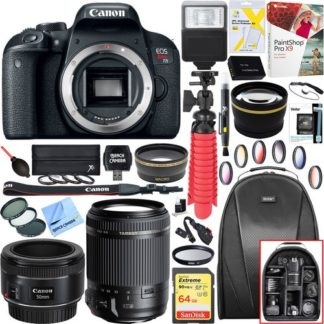 Canon EOS Rebel T7i DSLR Camera (Body) + 18-200mm and EF 50mm f/1.8 Lens Bundle