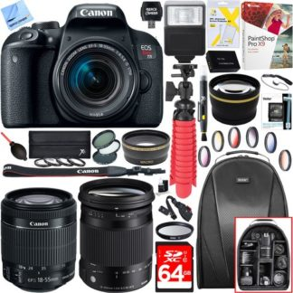 Canon EOS Rebel T7i DSLR Camera w/ EF-S 18-55mm + 18-300mm F3.5-6.3 Lens Bundle