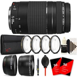 Canon EF 75-300mm f/4-5.6 III USM Telephoto Zoom Lens for Canon EOS Rebel T4i T3 T3i T2i with Accessory Bundle