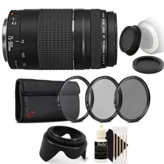 Canon EF 75-300mm f/4-5.6 III USM Telephoto Zoom Lens for Canon EOS Rebel T7 T7i T6i T6 T6s with Accessory Bundle