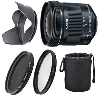 Canon EF-S 10-18mm f/4.5-5.6 IS STM Lens Bundle For Canon EOS 7D, 60D EOS Rebel SL1, T1i, T2i, T3, T3i, T4, T5, T5i, XS, XSi, XT, XTi + UV & Polarizer+ Top Value