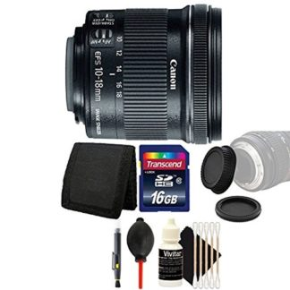 Canon EF-S 10-18mm f/4.5-5.6 IS STM Lens for Canon EOS Rebel T5 T5i T4i T3 with Ultimate Accessory Bundle