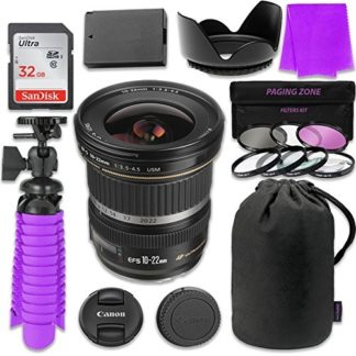 Canon EF-S 10-22mm f/3.5-4.5 USM Lens Bundle with SanDisk 32GB Memory Card, LP-E10 Replacement Battery, Flexible Gorillapod & 3 Piece Filter Kit for Canon EOS Rebel T5, T6 Digital SLR Cameras