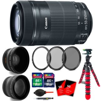 Canon EF-S 55-250mm f/4-5.6 IS STM Lens 8546B002 with 24GB Bundle for EOS 7D Mark II, 7D, 80D, 70D, 60D, 50D, 40D, 30D, 20D, Rebel T6s, T6i, T5i, T4i, SL1, T3i, T6, T5, T3, T2i, T1i, XSi, XS, XTi, XT