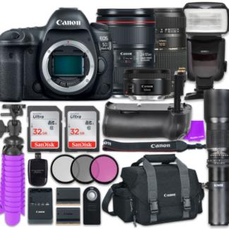 Canon EOS 5D Mark IV Digital SLR Camera with Canon EF 24-105mm f/4L IS II USM Lens + Tamron Zoom 70-300mm f/4-5.6 Di LD Macro Autofocus + Canon EF 50mm f/1.8 STM Lens + Accessory Bundle