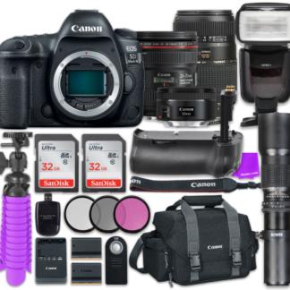 Canon EOS 5D Mark IV Digital SLR Camera with Canon EF 24-70mm f/4L IS USM Lens + Tamron Zoom 70-300mm f/4-5.6 Di LD Macro Autofocus + Canon EF 50mm f/1.8 STM Lens + Accessory Bundle