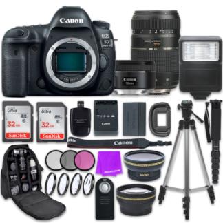 Canon EOS 5D Mark IV Digital SLR Camera with Canon EF 50mm f/1.8 STM Lens + Tamron 70-300mm f/4-5.6 AF Lens + Accessory Bundle