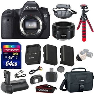 Canon EOS 6D 20.2 MP CMOS Digital SLR Camera Bundle with Canon EF 50mm f/1.8 STM Lens, 64GB Memory Card, Case, 12-Inch Spider Tripod, Power Grip and Extra Battery
