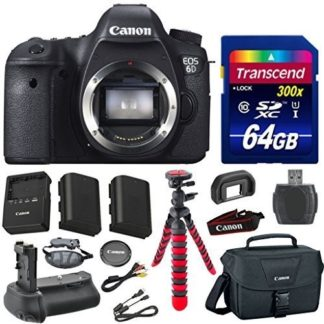 Canon EOS 6D 20.2 MP Full-Frame CMOS Digital SLR Camera Body Bundle with Transcend 64GB Memory Card + Canon Deluxe Case + 12' Spider Tripod + Battery Power Grip + Extra Battery + Memory Card Reader