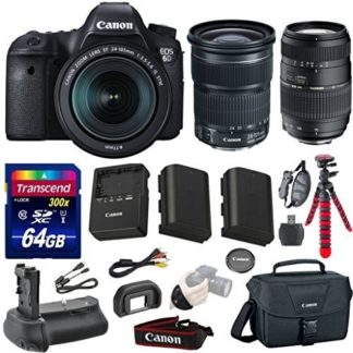 Canon EOS 6D 20.2 MP Full-Frame CMOS Digital SLR Camera Bundle with Canon EF 24-105mm f/3.5-5.6 IS STM Lens + Tamron Auto Focus 70-300mm Zoom Lens + Transcend 64GB Memory Card + Canon Deluxe Case