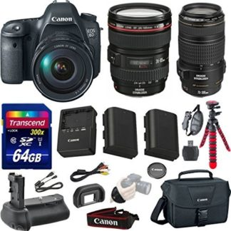 Canon EOS 6D 20.2 MP Full-Frame CMOS Digital SLR Camera Bundle with Canon EF 24-105mm f/4 L IS USM Lens + Canon EF 70-300mm f/4-5.6 IS USM Lens + Transcend 64GB Memory Card + Canon Deluxe Case