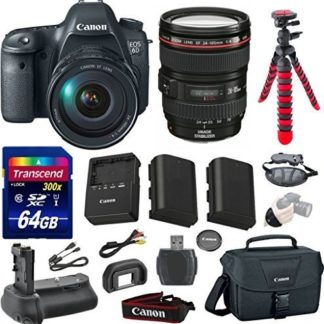 Canon EOS 6D 20.2 MP Full-Frame CMOS Digital SLR Camera Bundle with Canon EF 24-105mm f/4 L IS USM Lens + Transcend 64GB Memory Card + Canon Deluxe Case + 12' Spider Tripod + Battery Power Grip