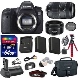 Canon EOS 6D 20.2 MP Full-Frame CMOS Digital SLR Camera Bundle with Canon EF 50mm f/1.8 STM Lens and Accessories (10 Items)