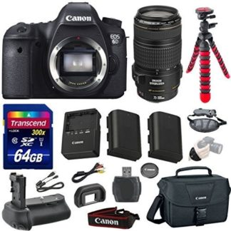 Canon EOS 6D 20.2 MP Full-Frame CMOS Digital SLR Camera Bundle with Canon EF 70-300mm f/4-5.6 IS USM Lens + Transcend 64GB Memory Card + Canon Deluxe Case + 12' Spider Tripod + Battery Power Grip