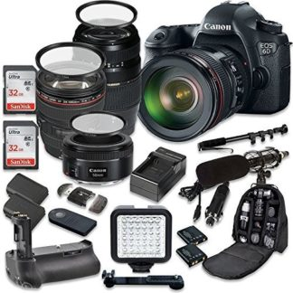 Canon EOS 6D 20.2 MP Full Frame CMOS Digital SLR DSLR Camera w/ EF 24-105mm f/4 L IS USM Lens + Tamron AF 70-300mm f/4.0-5.6 + EF 50mm f/1.8 STM Lens + Holiday Accessory Bundle