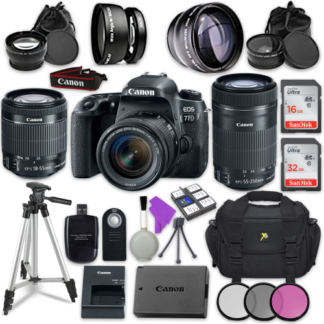 Canon EOS 77D 24.2 MP Digital SLR Camera with Wi-Fi & Bluetooth + Canon EF-S 18-55mm IS STM Lens + Canon EF-S 55-250mm f/4-5.6 IS STM Lens + Accessory Bundle