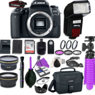 Canon EOS 77D Digital SLR Camera Body with + Automatic Flash + LED Video Light, Close-Up Lens Set, 32GB Memory Card + Accessory Bundle