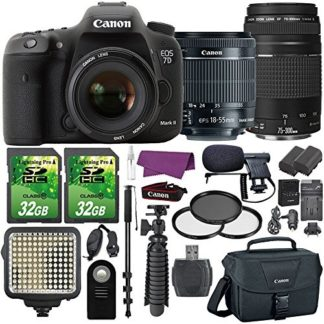 Canon EOS 7D Mark II Digital SLR Camera with EF-S 18-55mm IS STM Lens + EF 75-300mm III Telephoto Lens and Accessory Bundle (15 Items)