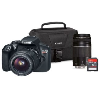 Canon EOS Rebel DSLR Camera Lens Bundle EF-S 18-55mm IS/EF75-300 III Lens