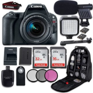 Canon EOS Rebel SL2 DSLR Camera with Canon EF-S 18-55mm f/4-5.6 IS STM Lens + LED Light + Microphone + Video Accessory Bundle