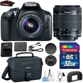 Canon EOS Rebel T6 DSLR Camera with Canon EF-S 18-55mm IS Lens + 32GB Class 10 SD Memory Card + Canon 100ES Bag + Accessories