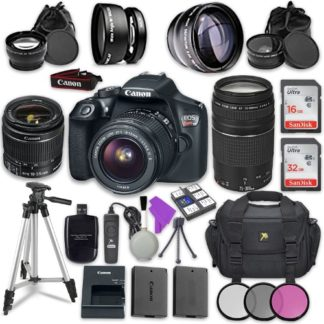 Canon EOS Rebel T6 DSLR Camera with Canon EF-S 18-55mm f/3.5-5.6 IS II Lens + Canon EF 75-300mm f/4-5.6 III Lens + Sandisk 16GB & 32GB Class 10 SD Memory Cards + Accessory Bundle
