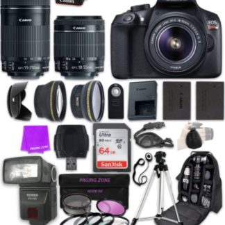 Canon EOS Rebel T6 DSLR Camera with EF-S 18-55mm f/3.5-5.6 IS II & Canon EF-S 55-250mm f/4-5.6 IS STM Lens and Professional Complete Accessory Bundle