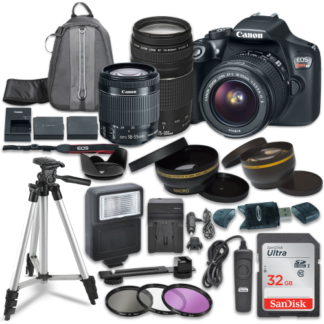 Canon EOS Rebel T6 Digital SLR Camera with Canon EF-S 18-55mm IS STM Lens + Canon EF 75-300mm f/4-5.6 III Lens + Sandisk 32GB SDHC Memory Cards + Accessory Bundle