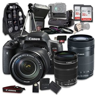Canon EOS Rebel T6i 24.2 MP Digital SLR Camera Bundle with Canon EF-S 18-135mm f/3.5-5.6 IS STM Lens + Canon EF-S 55-250mm f/4-5.6 IS STM Lens